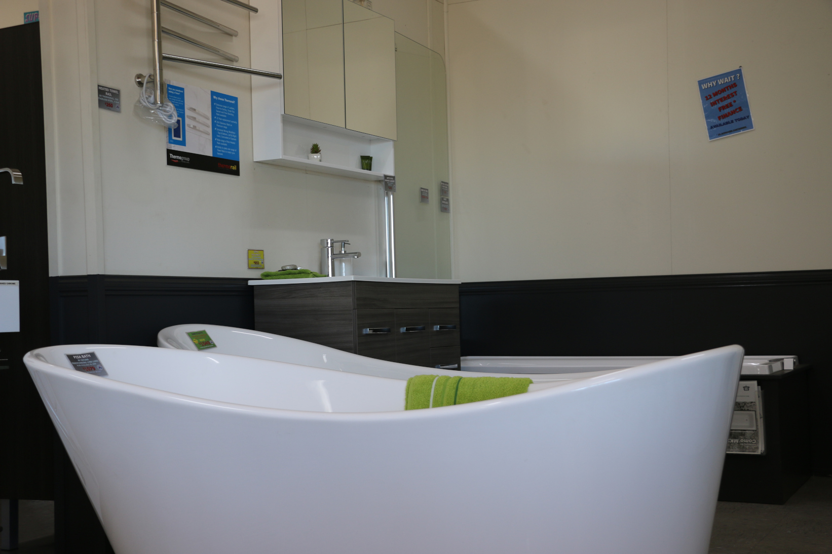 Baths in our large modern showroom